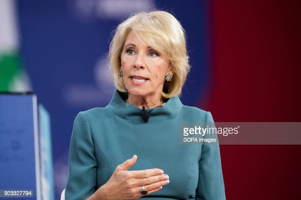 Betsy DeVos United States Secretary of Education at the Conservative Political Action Conference sponsored by the American Conservative Union held at...