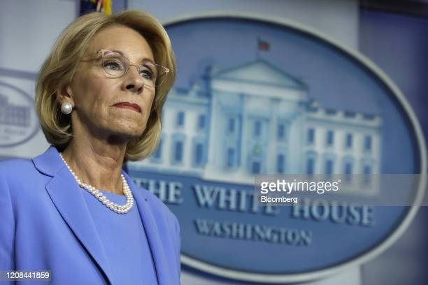 Betsy DeVos US secretary of education listens during a Coronavirus Task Force news conference at the White House in Washington DC US on Friday March...