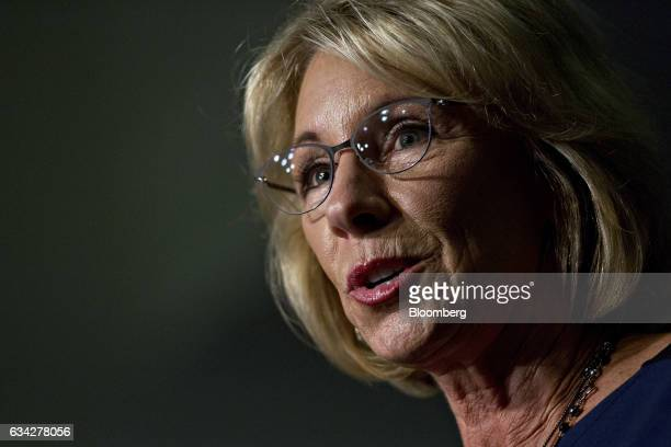 Betsy DeVos US secretary of education speaks to employees on her first day at the Department of Education in Washington DC US on Wednesday Feb 8 2017...