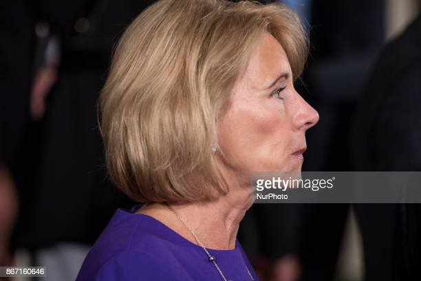 Betsy DeVos US secretary of education was in attendance at President Donald Trump's event on combatting drug demand and the opioid crisis in the East...