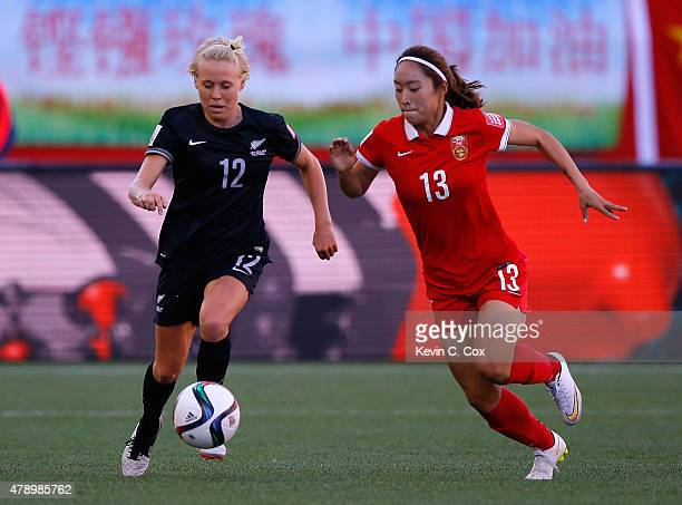 Betsy Hassett of New Zealand against Tang Jiali of China PR during the FIFA Women's World Cup Canada 2015 Group A match between China PR and New...