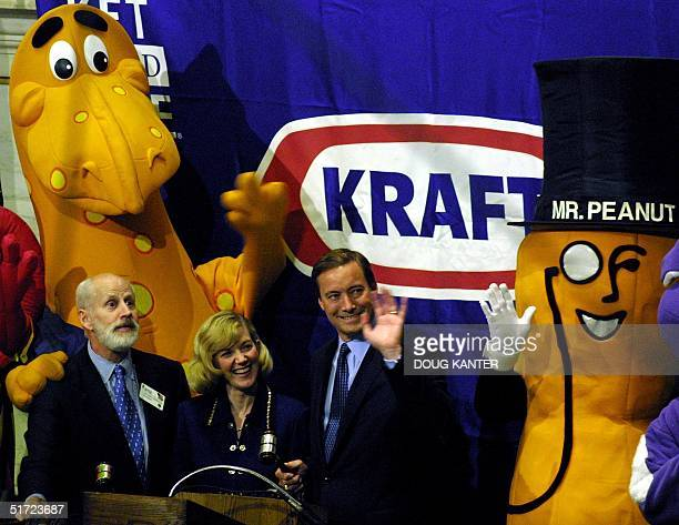 Betsy Holden and Roger Deromedi CEOs of Kraft Foods Company celebrate their initial public offering on the New York Stock Exchange by ringing the...
