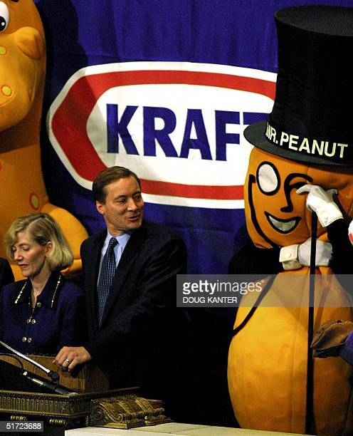 Betsy Holden and Roger Deromedi Kraft Foods Company CEOs celebrate their initial public offering on the New York Stock Exchange by ringing the...