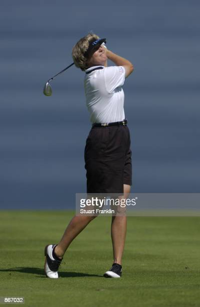 Betsy King hits a shot during the second round of the Evian Masters on June 13 2002 at Evian Masters Golf Club in EvianlesBains France