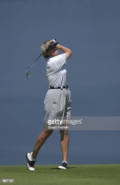Betsy King of the USA hits a shot during the third round of the Evian Masters on June 14 2002 at Evian Masters Golf Club in EvianlesBains France