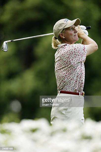 Betsy King of the USA in action during the first round of The Evian Masters on July 23 2003 at The Evian Masters golf club in Evian France