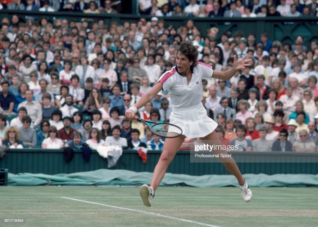 Betsy Nagelsen of the USA in action against Chris Evert-Lloyd also of the USA (not in picture) in their Women's Singles Second Round match during the Wimbledon Lawn Tennis Championships at the All England Lawn Tennis and Croquet Club, circa June, 1984 in London, England.