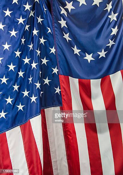 Betsy Ross and USA Flag Close-up