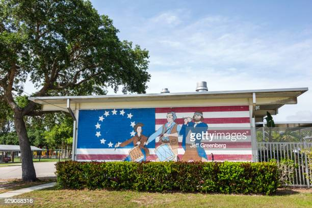 A Betsy Ross flag mural on the grounds of an Elementary School at Fort Myers Beach