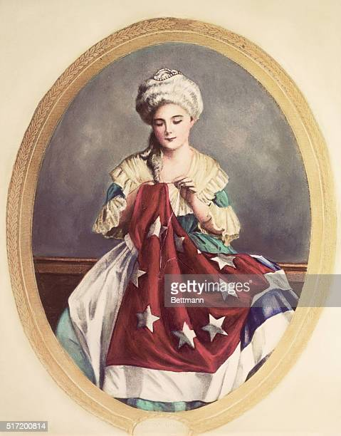 Betsy Ross sewing the first American flag Painting