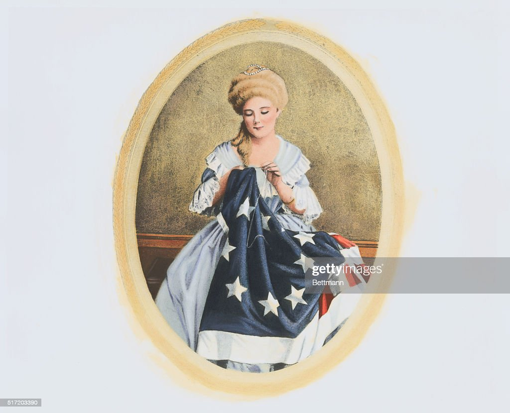 Illustration of Betsy Ross Sewing American Flag : ニュース写真
