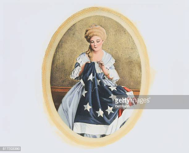 Betsy Ross sewing the first flag of the United States