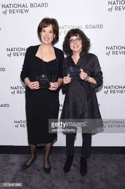 Betsy West and Julie Cohen pose backstage with the Best Documentary Award for RBG during The National Board of Review Annual Awards Gala at Cipriani...
