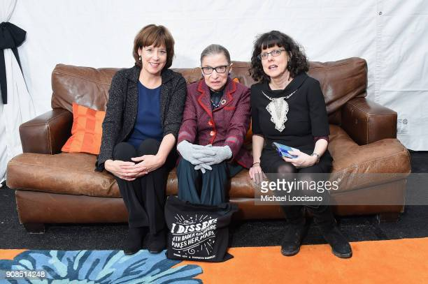 Betsy West Justice Ruth Bader Ginsburg and Julie Cohen attend the RBG Premiere during the 2018 Sundance Film Festival at The Marc Theatre on January...
