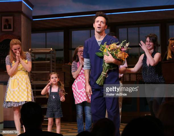 Betsy Wolfe Victoria Collett Jason Mraz and Sara Bareilles take a bow at the curtain call of Broadway's 'Waitress' at The Brooks Atkinson Theatre on...