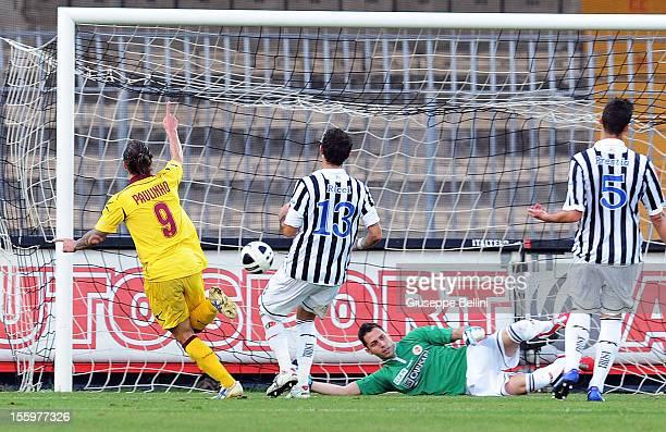 Bettanin Paulo Sergio Paulinho of Livorno scores the goal 02 during the Serie B match between Ascoli Calcio and AS Livorno at Stadio Cino e Lillo Del...