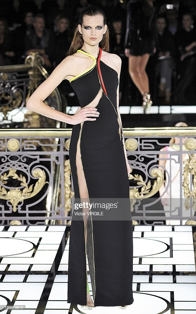 Bette Franke walks the runway during the Atelier Versace Spring/Summer 2013 Haute-Couture show as part of Paris Fashion Week at Le Centorial on January 20, 2013 in Paris, France.