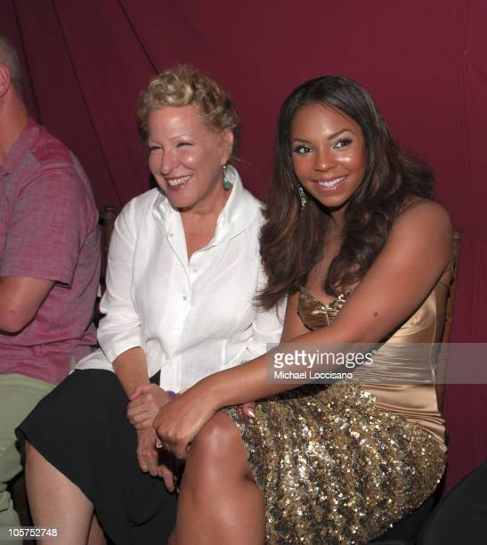 Bette Midler and Ashanti during Olympus Fashion Week Spring 2006 - Badgley Mischka - Front Row and Backstage at 261 11th Ave. In New York City, New...