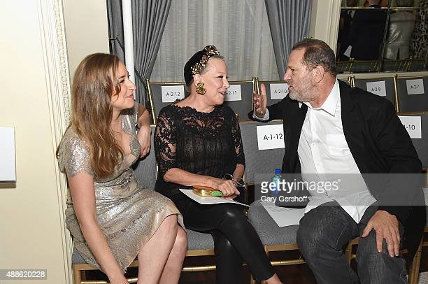 Bette Midler and daughter Sophie von Haselberg and Harvey Weinstein attend the Marchesa fashion show during Spring 2016 New York Fashion Week at St...