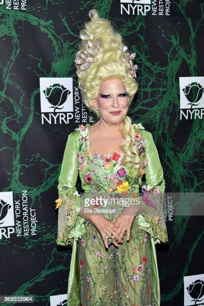 Bette Midler attends her 2017 Hulaween event benefiting the New York Restoration Project at Cathedral of St John the Divine on October 30 2017 in New...
