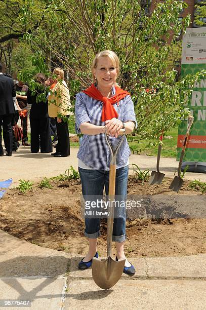 Bette Midler attends the MillionTreesNYC Arbor Day planting and celebration at the Atlantic Plaza Towers on April 30 2010 in the Brooklyn borough of...