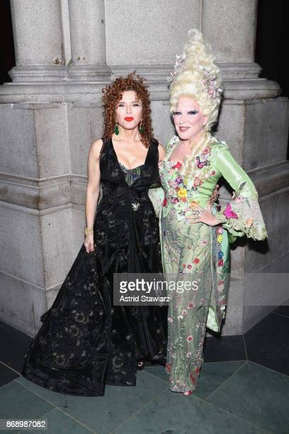 Bette Midler Bernadette Peters at Hulaween Current Star and Upcoming Star of Hello Dolly Celebrates Halloween Benefit at Cathedral of St John the...