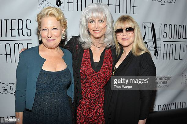 Bette Midler, Emmylou Harris, and Stevie Nicks attend the Songwriters Hall of Fame 43rd Annual induction and awards at The New York Marriott Marquis...
