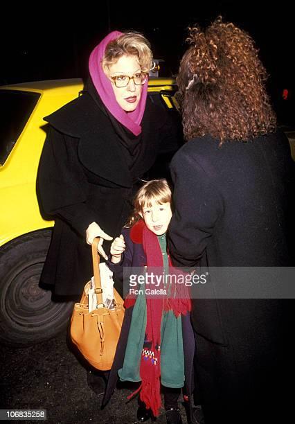 Bette Midler Sophie von Haselberg and Nanny during Bette Midler Attends a Performance of The Secret Garden on Broadway December 27 1991 at St James...