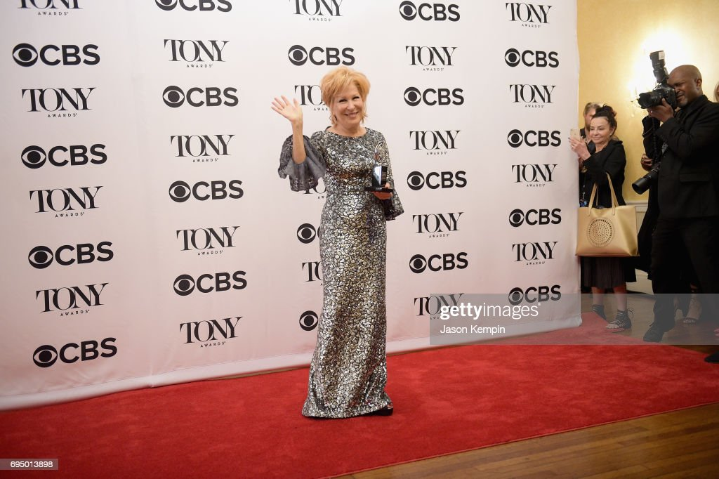 "Bette Midler, winner of the award for Best Actress in a Musical for ""Hello, Dolly!,"" poses in the press room during the 2017 Tony Awards at 3 West Club on June 11, 2017 in New York City."