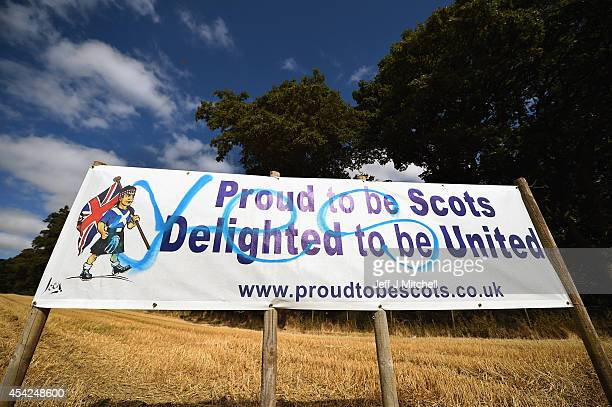 Better Together campaign placards have been spray painted with yes graffiti on August 27 2014 in Dundee Scotland In less than a month voters will go...