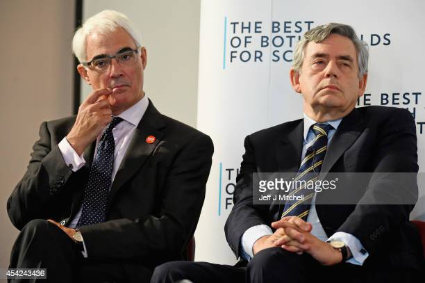 Better together leader Alistair Darling and former Prime Minister Gordon Brown attend a Better Together rally on August 27 2014 in Dundee Scotland...
