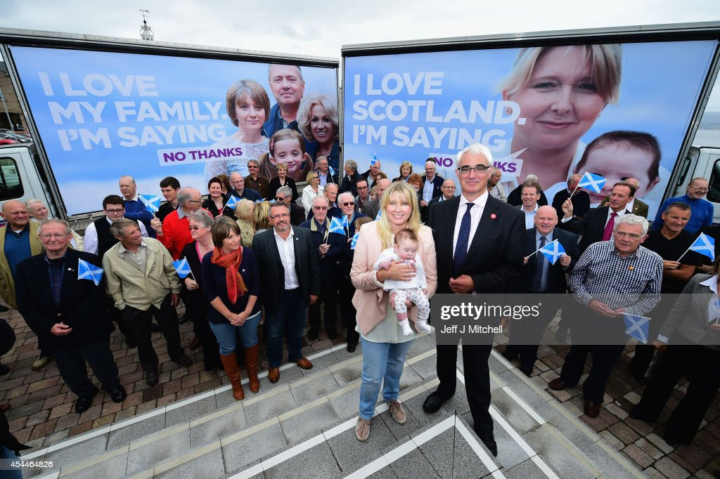 Better Together leader Alistair Darling launches a new ad van campaign on September 1, 2014 in Greenock, Scotland. There are just 17 campaigning days left before voters will go to the polls to vote yes or no on whether Scotland should become an independent country.