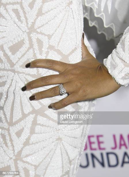 Bettina Bush ring detail at Prince Jackson's Heal LA and TLK Fusion Present the 2nd Annual Costume for a Cause at Jackson Family Home on October 27...