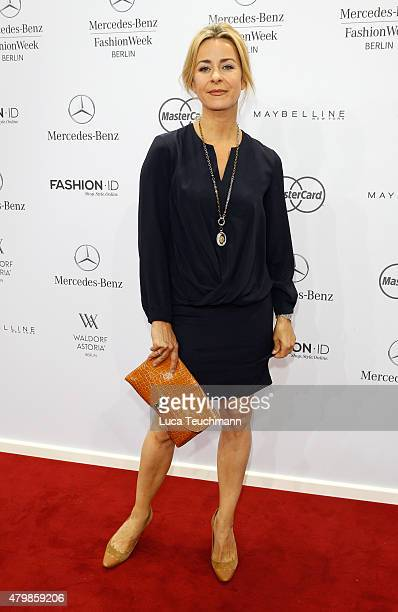 Bettina Cramer attends the Anja Gockel show during the MercedesBenz Fashion Week Berlin Spring/Summer 2016 at Brandenburg Gate on July 8 2015 in...