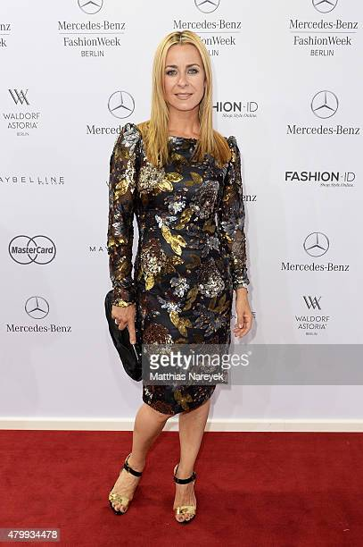 Bettina Cramer attends the Guido Maria Kretschmer show during the MercedesBenz Fashion Week Berlin Spring/Summer 2016 at Brandenburg Gate on July 8...
