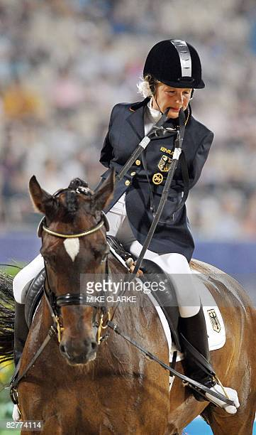 Bettina Eistel of Germany on Fabuleux 5 rides in the Individual Freestyle Test Grade III during the 2008 Beijing Paralympic Games equestrian event in...