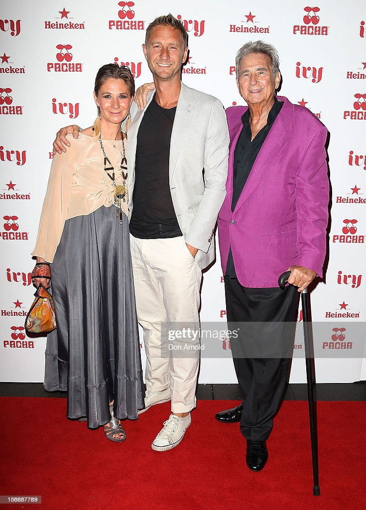 Bettina Hemmes, Justin Hemmes and John Hemmes pose at the Pacha Launch at the Ivy on November 24, 2012 in Sydney, Australia.