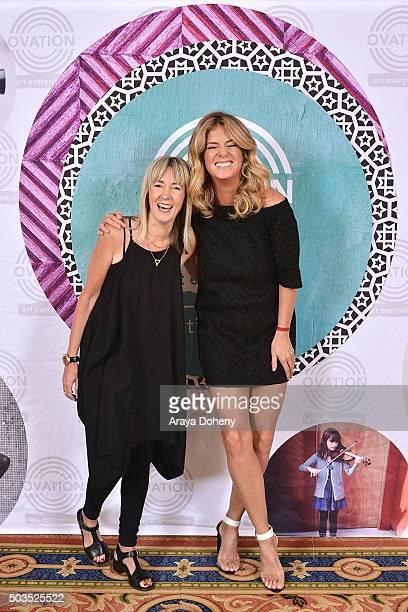 Bettina Hollings and Rachel Hunter attend the Ovation 2016 Winter TCA Tour introducing three series featuring Rachel Hunter Reza Aslan Norman Lear...
