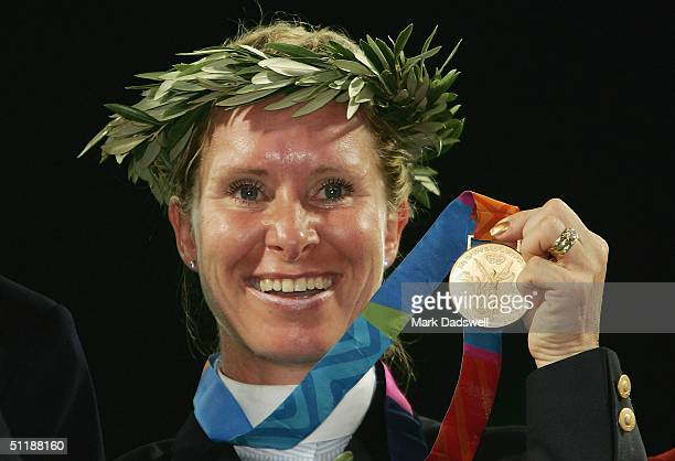 Bettina Hoy of Germany wins the gold medal in the individual three day eventing competition on August 18, 2004 during the Athens 2004 Summer Olympic...