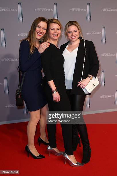 Bettina Lamprecht Annette Frier and Caroline Frier attend the German Television Award at Rheinterrasse on January 13 2016 in Duesseldorf Germany