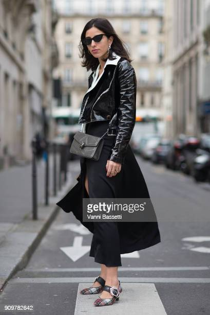 Bettina Loomey poses with a Bulgari bag after the Jean Paul Gaultier show during Paris Fashion Week Haute Couture Spring Summer 2018 on January 24...