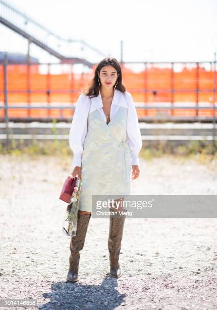 Bettina Looney is seen outside By Malene Birger during the Copenhagen Fashion Week Spring/Summer 2019 on August 9 2018 in Copenhagen Denmark