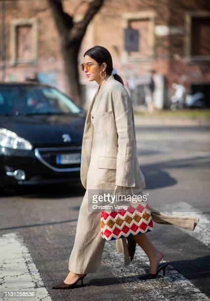 Bettina Looney is seen outside Fendi on Day 2 Milan Fashion Week Autumn/Winter 2019/20 on February 21 2019 in Milan Italy