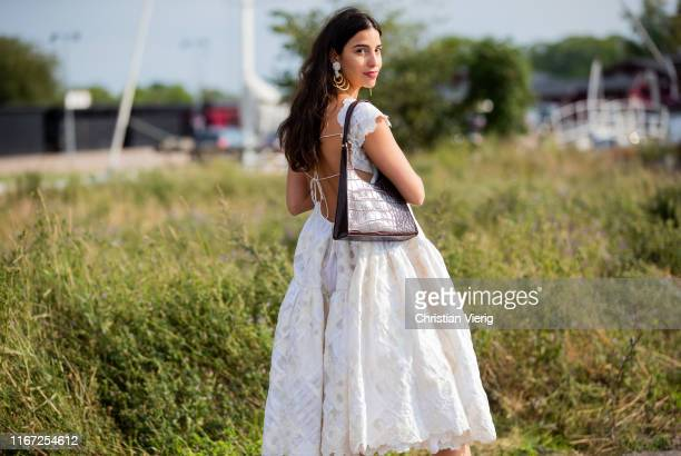 Bettina Looney is seen wearing white dress outside Cecilie Bahnsen during Copenhagen Fashion Week Spring/Summer 2020 on August 07, 2019 in...