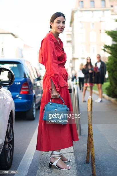 Bettina Looney poses after the Alberta Ferretti show during Milan Fashion Week Spring/Summer 2018 on September 20 2017 in Milan Italy