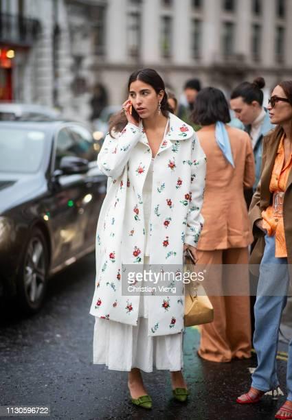 Bettina Looney seen outside REJINA PYO during London Fashion Week February 2019 on February 18 2019 in London England