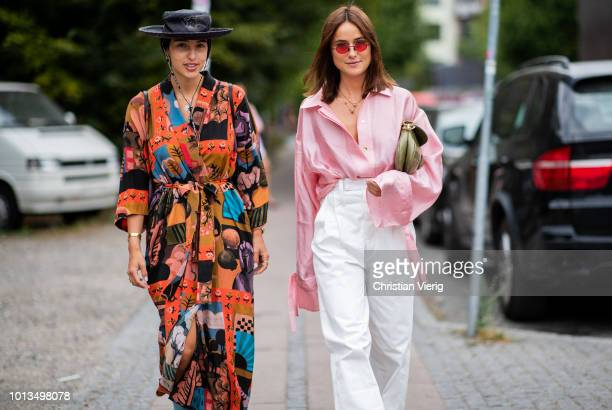 Bettina Looney wearing Dior hat dress with print and Lena Lademann is seen outside Stine Goya during the Copenhagen Fashion Week Spring/Summer 2019...
