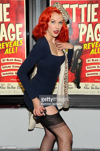 Bettina May attends the screening of Bettie Page Reveals All at Village East Cinema on November 22 2013 in New York City