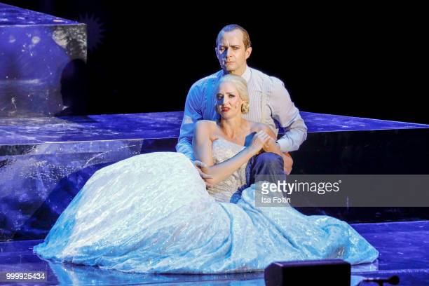 Bettina Moench as Evita and Mark Weigel as Peron during the Thurn Taxis Castle Festival 2018 'Evita' Musical on July 15 2018 in Regensburg Germany