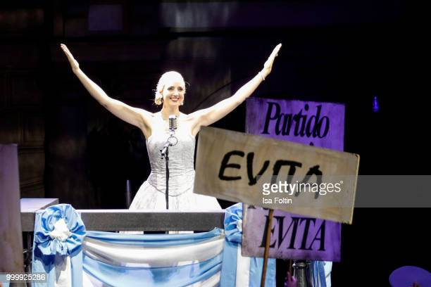 Bettina Moench as Evita during the Thurn Taxis Castle Festival 2018 'Evita' Musical on July 15 2018 in Regensburg Germany